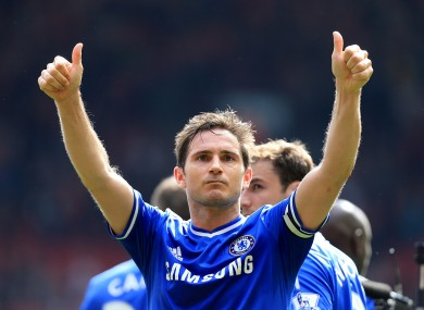 Frank Lampard acknowledges the Chelsea fans after a league win over Liverpool.