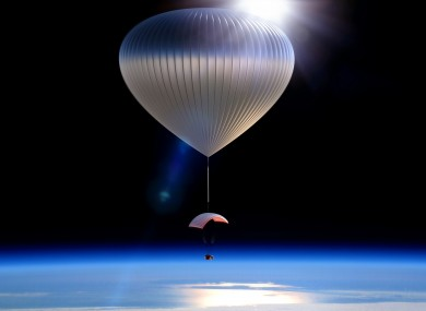 An artist rendering of the World View Voyager balloon carrying a space capsule