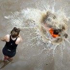 Competitors during the Tough Mudder event in Dalkeith Country Park near Edinburgh, Scotland.<span class=