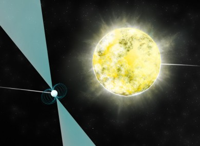 Artist's impression of the white dwarf star in orbit with its companion pulsar, PSR J222-0137.