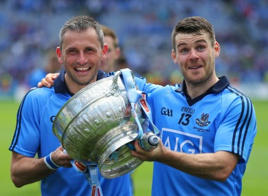 Alan Brogan and Kevin McManamon celebrate.