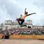 USA's Mike Hartfield during the Men's Long Jump during the London Anniversary Games at Horse Guards Parade, London. Photographed by: John Walton <span class=