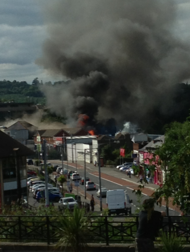 Four fire units are fighting a blaze in Bray town