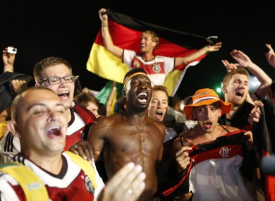 Germany fans celebrate their win over Brazil in the semi-final.