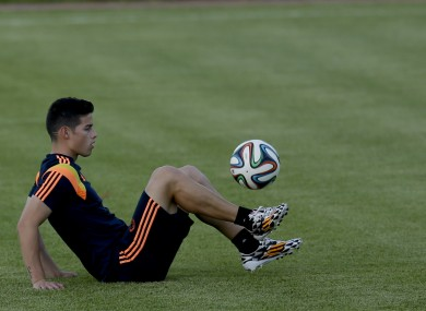 Rodriguez working on the core skills at Colombia training.