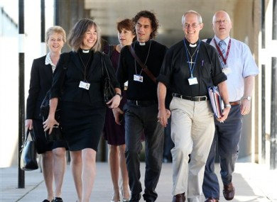 The Archbishop of Canterbury, Justin Welby, second right and members of the clergy arrive for the General Synod meeting at The University of York.