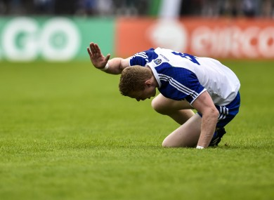 Colin Walshe beats the turf after his side's loss to Donegal.