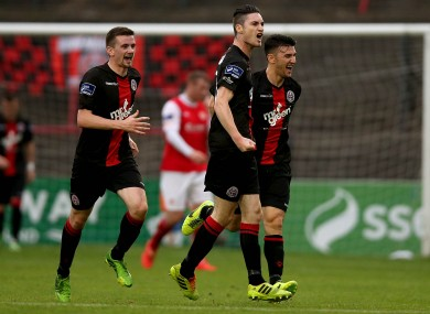 Wearen  celebrating his goal against St Pat's a fortnight ago.