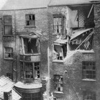 Damage to a holiday residence in Scarborough, caused by shells from the German Navy when the town was bombarded on the morning of 16 December 1914.<span class=