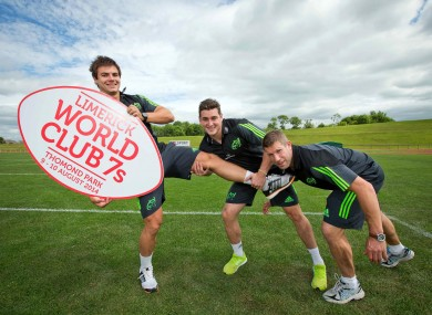 Van den Heever with Ronan O'Mahony and Colm McMahon, promoting the Limerick World Club 7s.