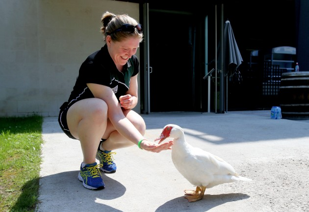 Heather O'Brien feeds a duck at the team hotel 27/7/2014