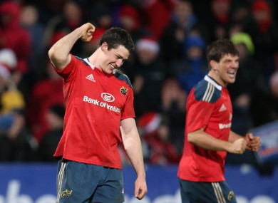 Nagle celebrates a Munster win over the Scarlets last year.
