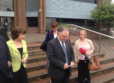 John Brown, brother of Eurovision Song Contest winner and former Irish presidential candidate Dana Rosemary Scallon speaks to the media as he leaves Harrow Crown Court.