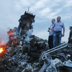 The site of the crash of a Malaysia Airlines Boeing 777 flight from Amsterdam to Kuala Lumpur, 60 km east of the Ukrainian Russian border. Photographed by: Zurab Dzhavakhadze <span class=
