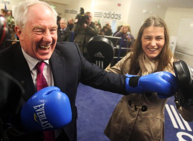 Michael Ring TD with Olympic champion Katie Taylor at the opening of the redeveloped Bray Boxing Club, which was partly funded under the 2012 Sports Capital Programme.