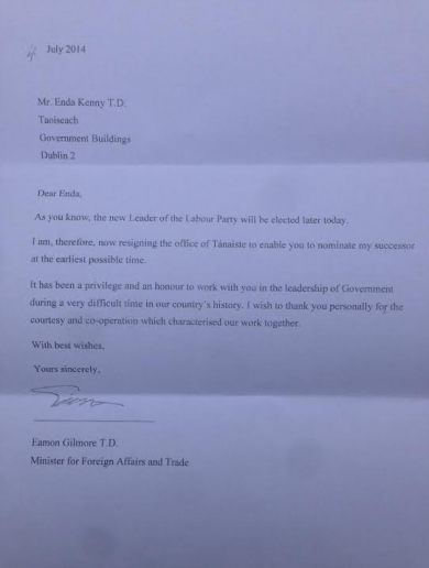 Dear Enda…Here's Eamon Gilmore's heartfelt resignation letter to the Taoiseach