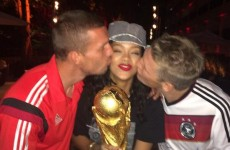 Rihanna with Podolski, Götze, Schweinsteiger and the World Cup