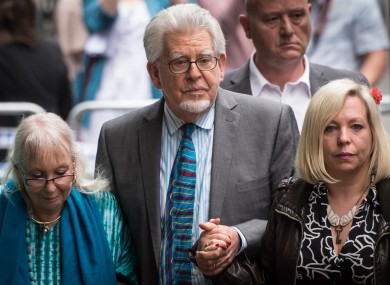 Rolf Harris outside court yesterday