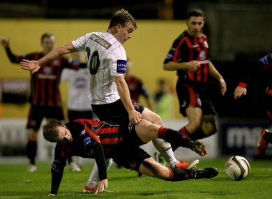 Vinny Faherty (pictured here in action for Dundalk last season) scored a treble for Galway FC.