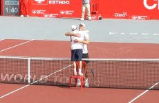 Dudi Sela needed a hug after losing to 6'11″ Ivo Karlovic, so he grabbed a chair to stand on