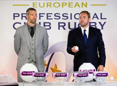 Simon Shaw and Scott Quinnell at last month's pool draws.