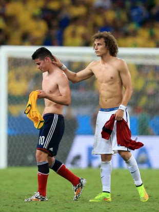 David Luiz consoles James after the final whistle.