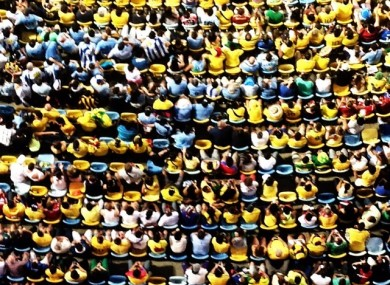 On overhead shots of fans at the Maracana stadium during Colombia versus Uruguay.
