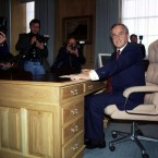 Reynolds taking over the Taoiseach desk in government buildings in December of 1992.