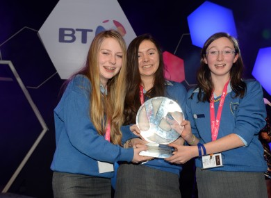 The three students, Ciara Judge, Émer Hickey and Sophie Healy-Thow, when they won the BT Young Scientist competition in 2013.