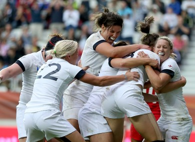 England celebrate Scarratt's match-clinching try.