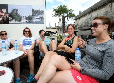 Fiona Coghlan, Marie Louise Reilly, Jackie Shiels, Hannah Casey and Lynne Cantwell relax in Paris today ahead of the World Cup semi-final.