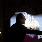 French President Francois Hollande delivers his speech to French Ambassadors at the Elysee Palace, in Paris.<span class=