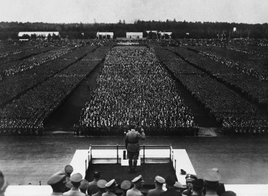 Hitler addressing the Nazi Party at Nuremburg in 1935.