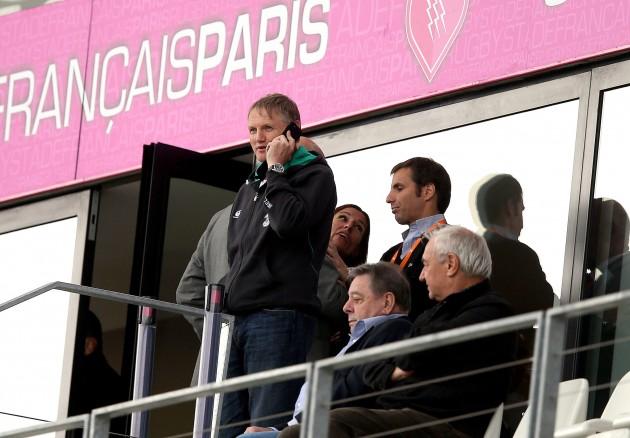 Joe Schmidt watches from the stands