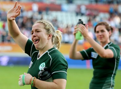 Niamh Briggs and Nora Stapleton applaud the Irish fans who made the trip to Paris.