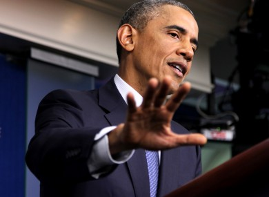 President Barack Obama speaks in the Brady Press Briefing Room of the White House today.