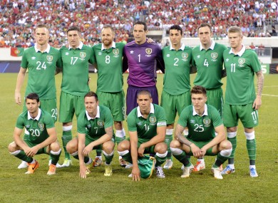 Ireland line out against Portugal in New Jersey.