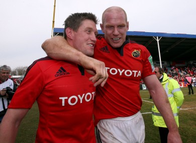 O'Gara with Paul O'Connell after the 2013 win over Harlequins.