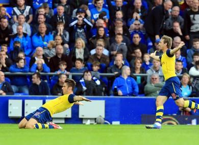 Arsenal's Olivier Giroud celebrates scoring his side's second goal.