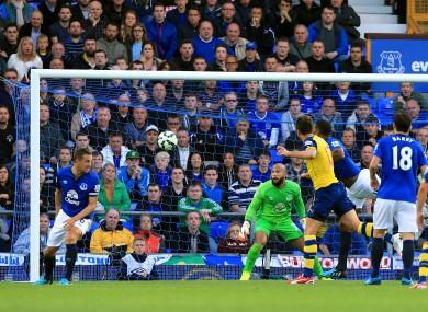 Giroud: scored Arsenal's equaliser in Goodison on Saturday.