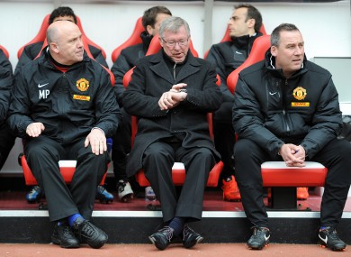 Meulensteen, right, with Alex Ferguson during a 2012 fixture against Sunderland.
