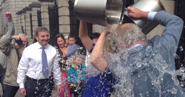 """The water has frozen my brain"": The ice bucket challenge came to Kildare St and the Mansion House today"