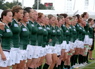 Ireland line up for the pre-match anthem on Friday.