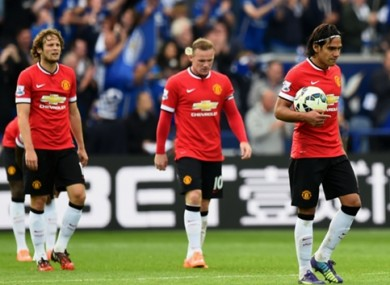 Daley Blind, Wayne Rooney and Radamel Falcao.
