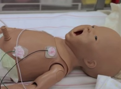 A baby mannequin used in training.