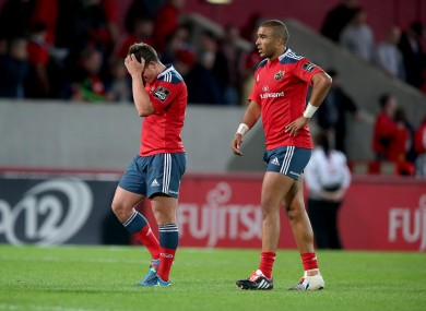 Ian Keatley and Simon Zebo show their disappointment after the loss to Edinburgh.