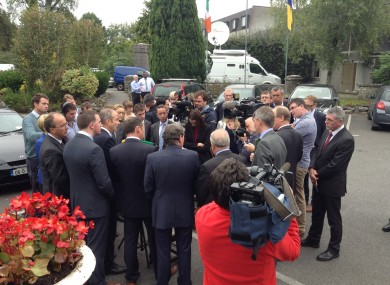 Micheál Martin speaks to reporters this afternoon.