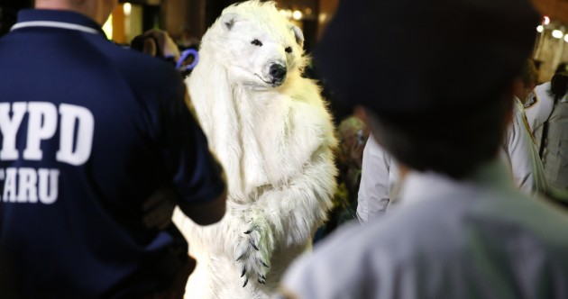 New York police arrest protesting polar bear* ahead of UN climate talks