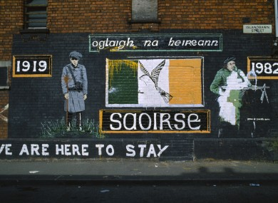 Mural on the Falls Road commemorating the War of Independence.