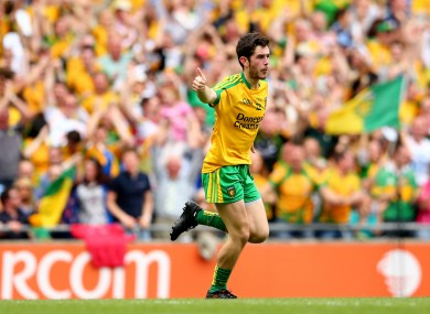 Donegal's Ryan McHugh celebrates after scoring his side's first goal.